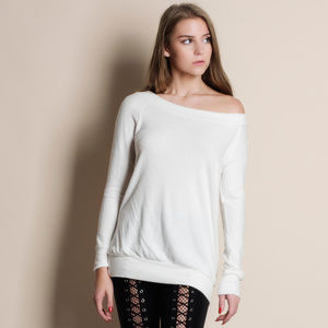 Tops - Off Shoulder Hacci Knit Soft Sweater
